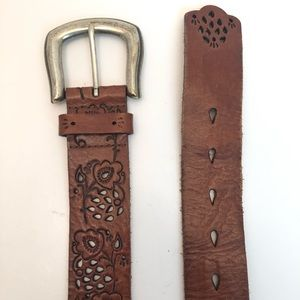 Fossil | Brown Leather Belt w/ Floral Designs